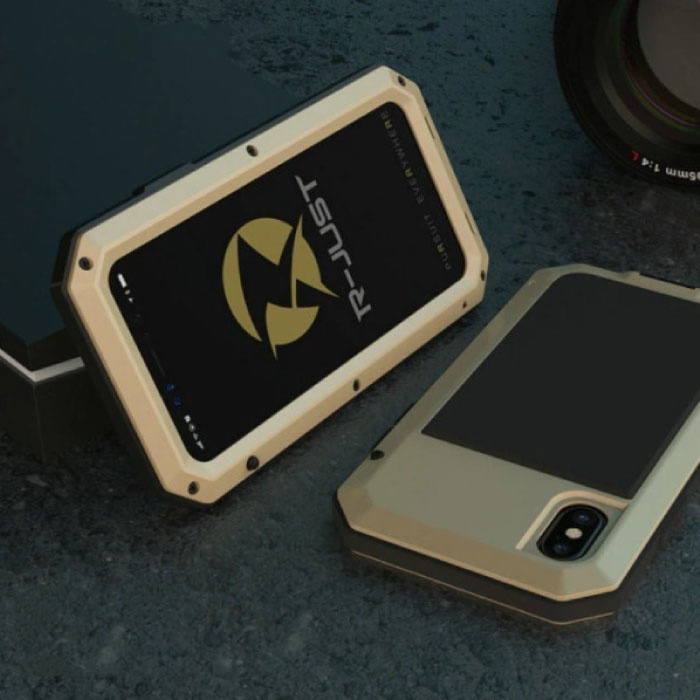 iPhone 12 Pro Max 360°  Full Body Case Tank Hoesje + Screenprotector - Shockproof Cover Goud