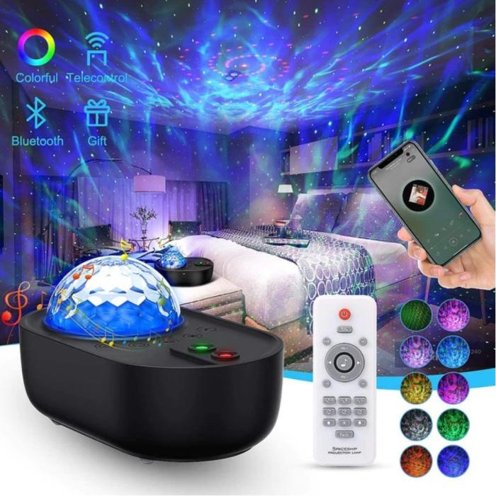 Projecteur Star avec télécommande - Lampe de table Bluetooth Starry Sky Music Mood Lamp Noir