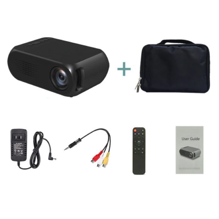 YG320 Mini LED Projector met Opbergtas - Scherm Beamer Home Media Speler Zwart
