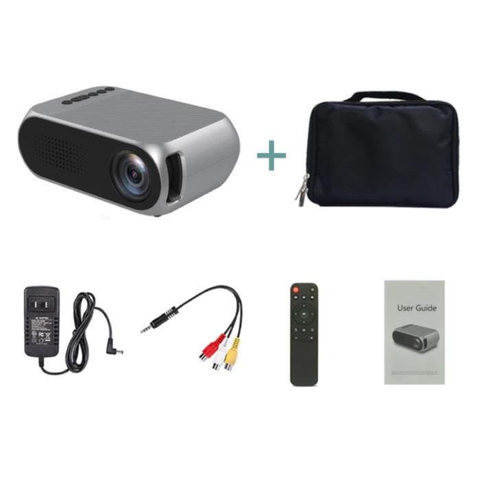 YG320 Mini LED Projector met Opbergtas - Scherm Beamer Home Media Speler Zilver