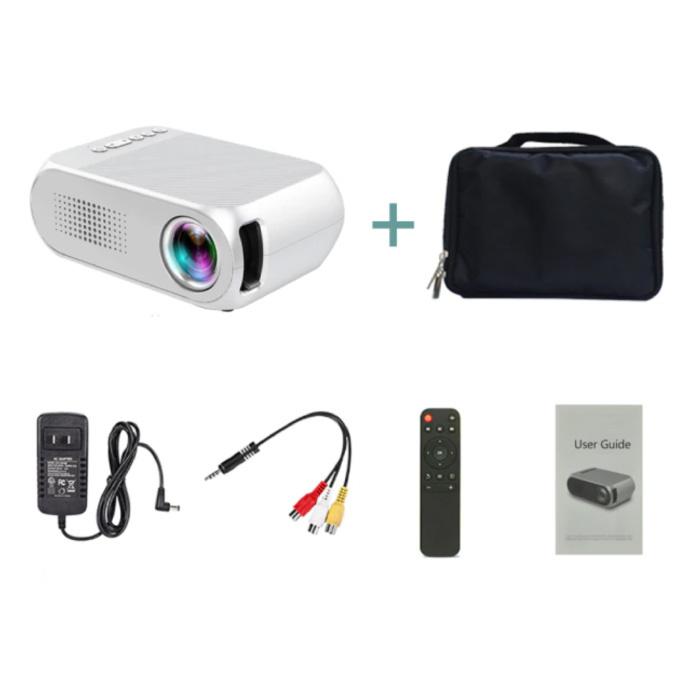 YG320 Mini LED Projector met Opbergtas - Scherm Beamer Home Media Speler Wit