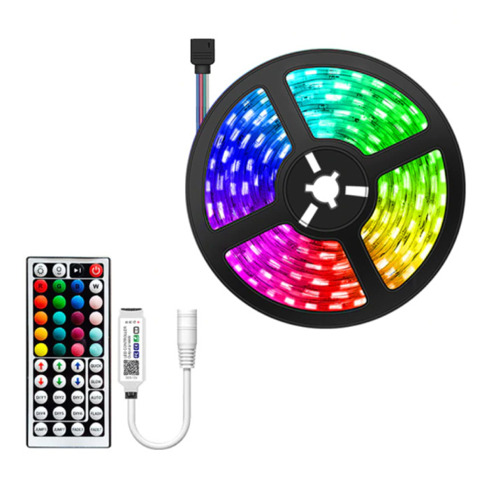 Bluetooth LED Strips 5 Meters - RGB Lighting with Remote Control SMD 5050 Color Adjustment Waterproof