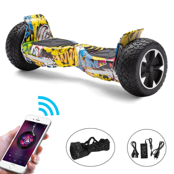"""Electric E-Scooter Hoverboard with Bluetooth Speaker - 8.5 """"- 350W - 2500mAh Battery - Smart Balance Board Graffitti"""