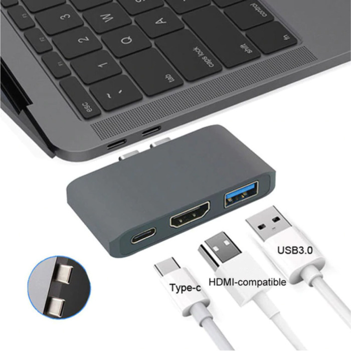 3 in 1 USB-C Hub for Macbook Pro / Air - USB 3.0 / Type C / HDMI - Hub with 3 Ports 1000Mbps Data Transfer Splitter Gray