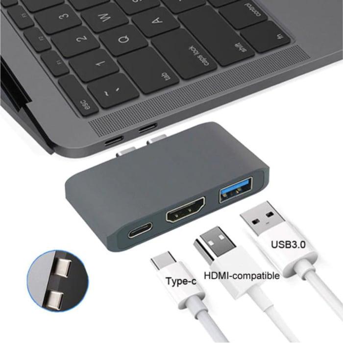3 in 1 USB-C Hub voor Macbook Pro / Air - USB 3.0 / Type C / HDMI - Hub met 3 Poorten 1000Mbps Data Overdracht Splitter Grijs