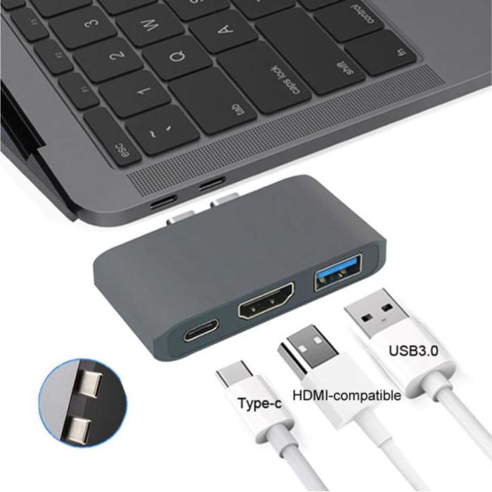 Hub USB-C 3 en 1 pour Macbook Pro / Air - USB 3.0 / Type C / HDMI - Hub avec 3 ports séparateur de transfert de données 1000 Mbps Gris