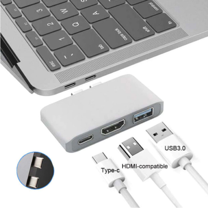 3 in 1 USB-C Hub voor Macbook Pro / Air - USB 3.0 / Type C / HDMI - Hub met 3 Poorten 1000Mbps Data Overdracht Splitter Zilver