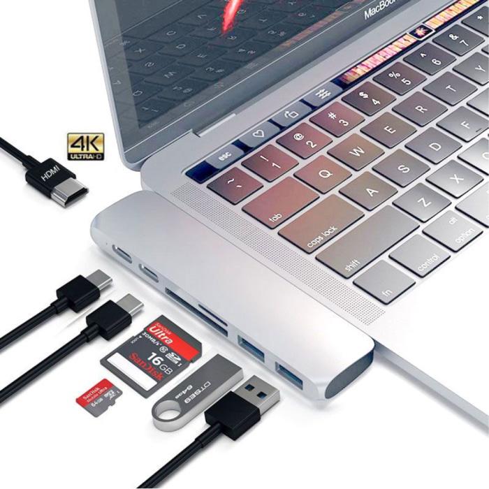7 in 1 USB-C Hub voor Macbook Pro / Air - USB 3.0 / Type C / Micro-SD / SD - Hub Data Overdracht Splitter Zilver