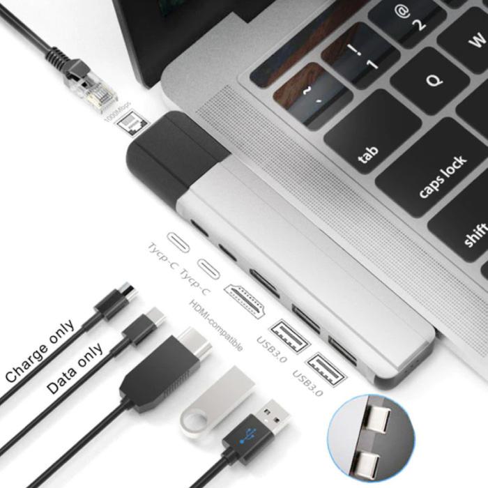 6 in 1 USB-C Hub voor Macbook Pro / Air - USB 3.0 / Type C / HDMI / Ethernet - RJ45 Hub Data Overdracht Splitter Zilver