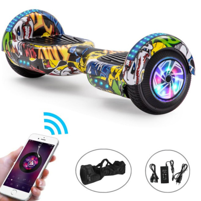 """Electric E-Scooter Hoverboard with Bluetooth Speaker - 6.5 """"- 500W - 2000mAh Battery - Smart Balance Board Graffitti"""