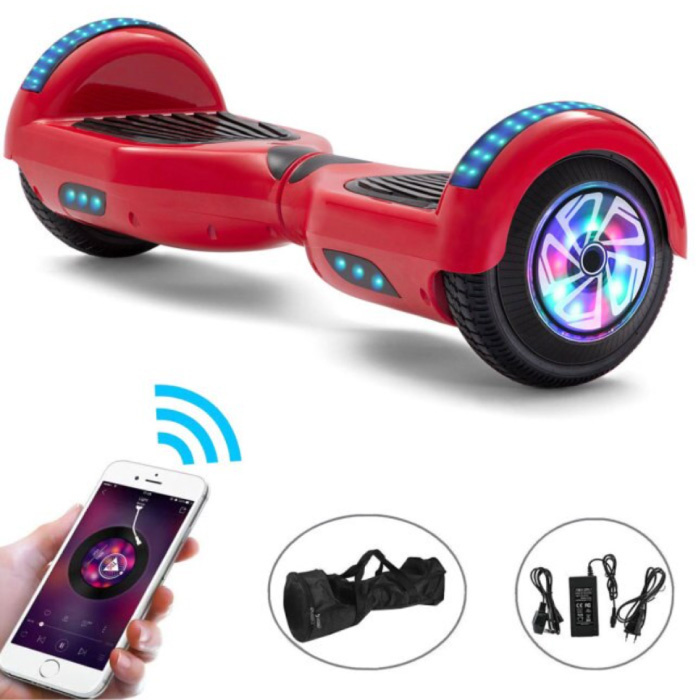 """Electric E-Scooter Hoverboard with Bluetooth Speaker - 6.5 """"- 500W - 2000mAh Battery - Smart Balance Board Red"""