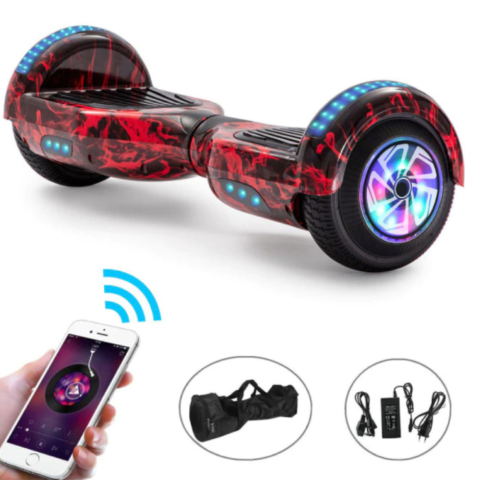 """Electric E-Scooter Hoverboard with Bluetooth Speaker - 6.5 """"- 500W - 2000mAh Battery - Smart Balance Board Flame"""