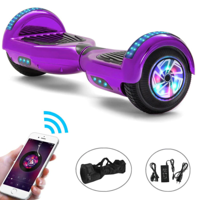 """Electric E-Scooter Hoverboard with Bluetooth Speaker - 6.5 """"- 500W - 2000mAh Battery - Smart Balance Board Purple"""