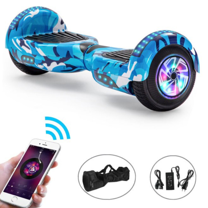 """Electric E-Scooter Hoverboard with Bluetooth Speaker - 6.5 """"- 500W - 2000mAh Battery - Smart Balance Board Blue Camo"""
