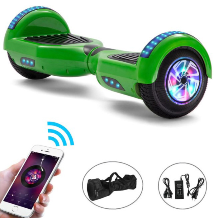 """Electric E-Scooter Hoverboard with Bluetooth Speaker - 6.5 """"- 500W - 2000mAh Battery - Smart Balance Board Green"""
