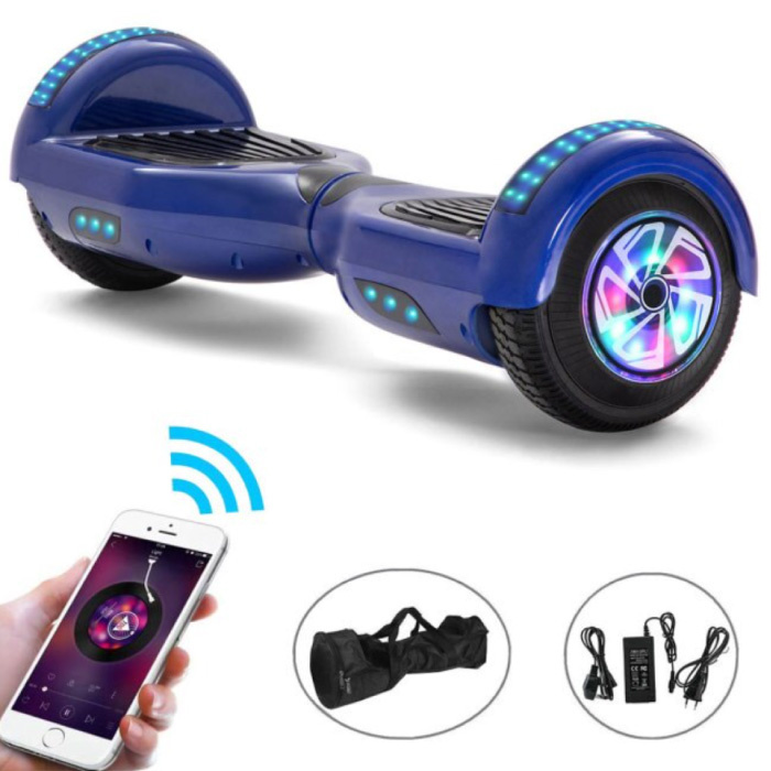 """Electric E-Scooter Hoverboard with Bluetooth Speaker - 6.5 """"- 500W - 2000mAh Battery - Smart Balance Board Blue"""