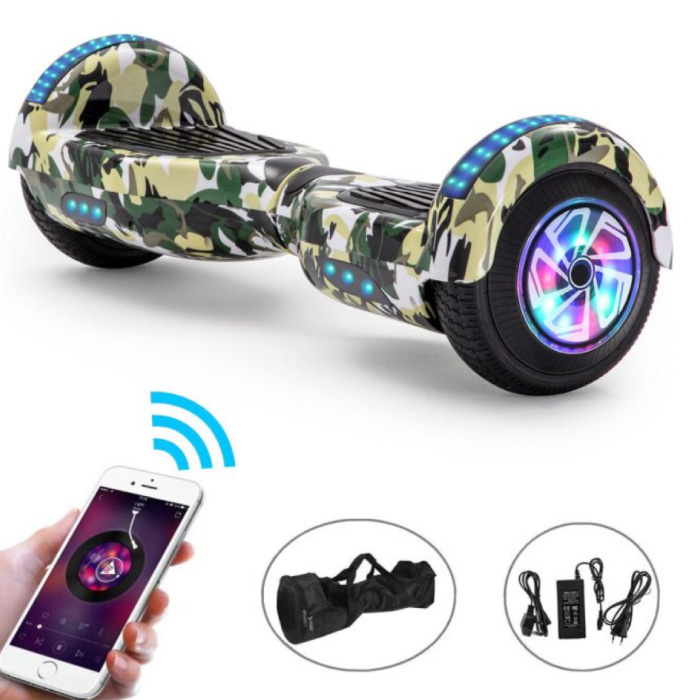 """Electric E-Scooter Hoverboard with Bluetooth Speaker - 6.5 """"- 500W - 2000mAh Battery - Smart Balance Board Camo"""