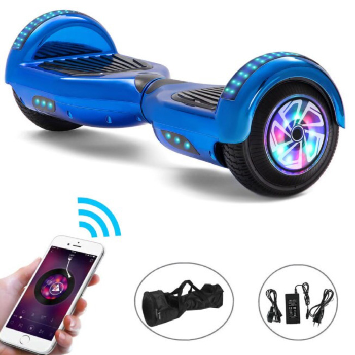 """Electric E-Scooter Hoverboard with Bluetooth Speaker - 6.5 """"- 500W - 2000mAh Battery - Smart Balance Board Light Blue"""