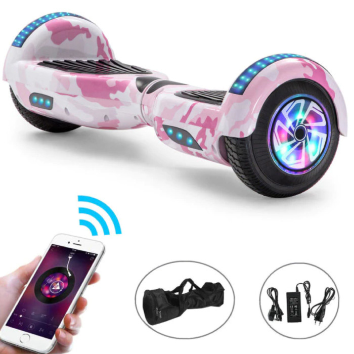 """Electric E-Scooter Hoverboard with Bluetooth Speaker - 6.5 """"- 500W - 2000mAh Battery - Smart Balance Board Pink Camo"""