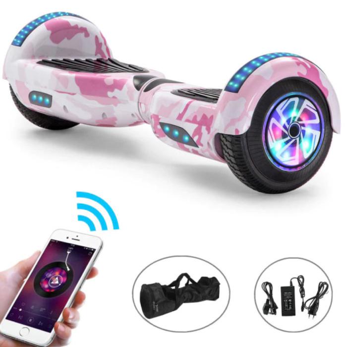 """Elektrisch E-Scooter Hoverboard met Bluetooth Speaker - 6.5"""" - 500W - 2000mAh Batterij - Smart Balance Board Roze Camo"""