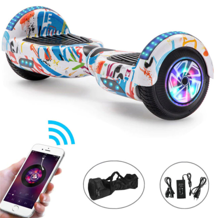 """Electric E-Scooter Hoverboard with Bluetooth Speaker - 6.5 """"- 500W - 2000mAh Battery - Smart Balance Board Sketch"""