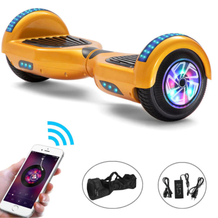 """Electric E-Scooter Hoverboard with Bluetooth Speaker - 6.5 """"- 500W - 2000mAh Battery - Smart Balance Board Gold"""
