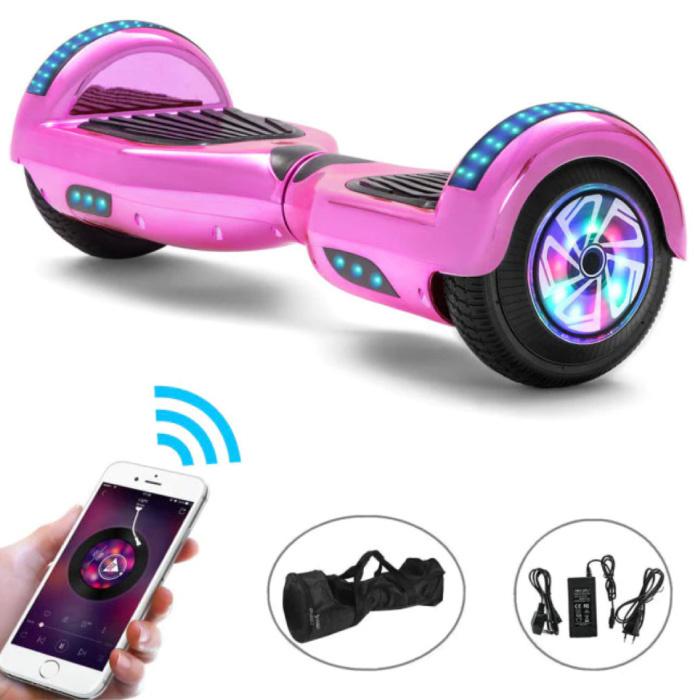 """Electric E-Scooter Hoverboard with Bluetooth Speaker - 6.5 """"- 500W - 2000mAh Battery - Smart Balance Board Pink"""