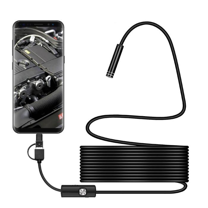 Caméra d'endoscope 1 mètre - endoscope semi-flexible de serpent de câble d'inspection de 7mm