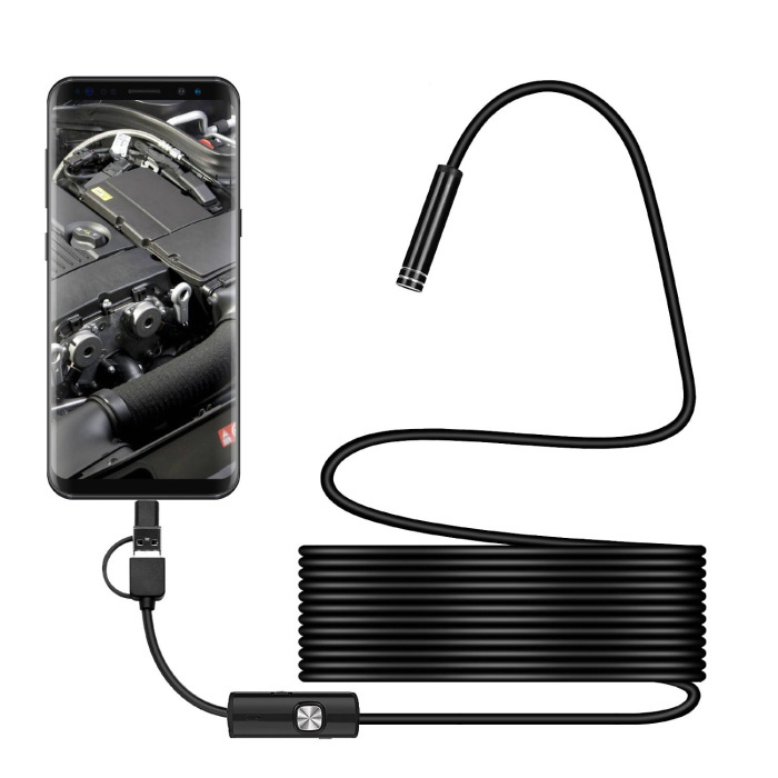 Endoscope Camera 1 Meter - 7mm Inspection Semi Flexible Cable Snake Borescope