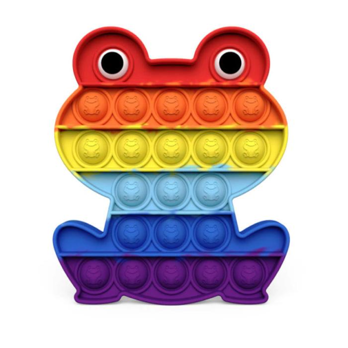 Pop It - Fidget Anti Stress Toy Bubble Toy Silicone Frog Rainbow