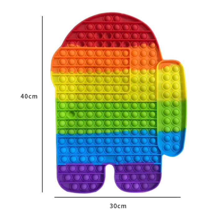 XXL Pop It - 400mm Extra Extra Groot Fidget Anti Stress Speelgoed Bubble Toy Siliconen Mannetje Regenboog