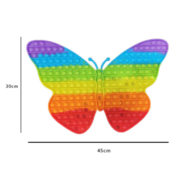 XXL Pop It - 300mm Extra Extra Large Fidget Anti Stress Toy Bubble Toy Silicone Butterfly Rainbow