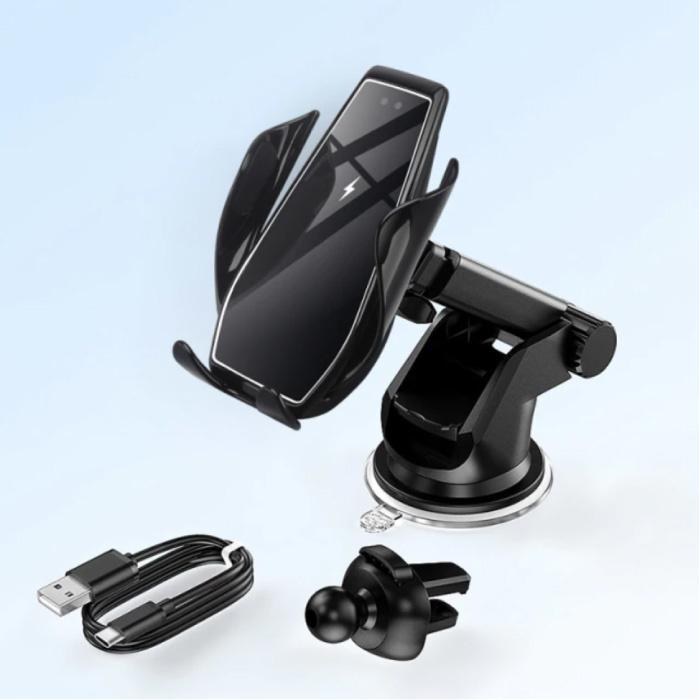 Chargeur de voiture sans fil Qi 15W - Charge rapide 3.0 - Chargeur de support de tableau de bord Chargeur de voiture universel sans fil noir - Copy
