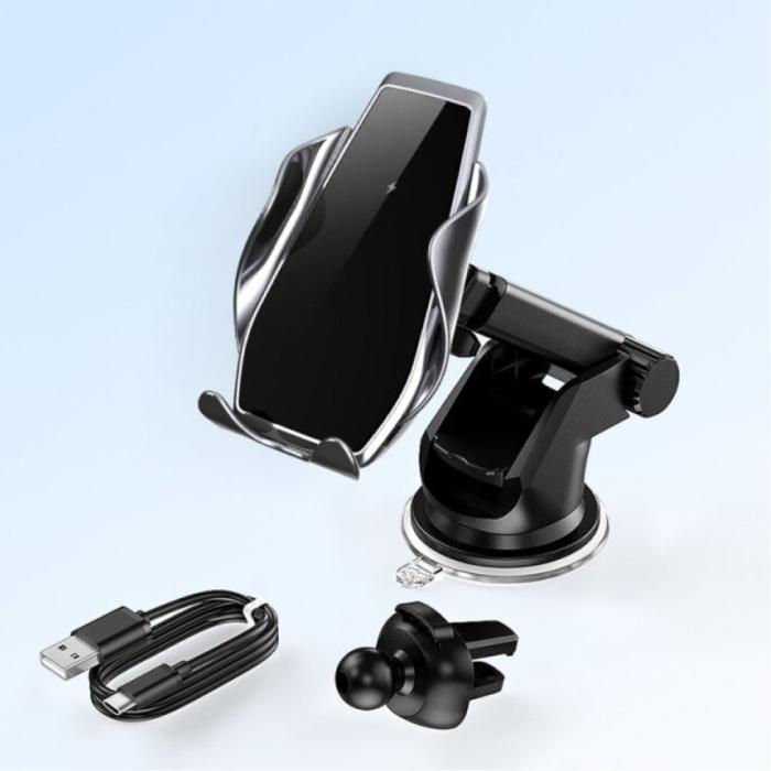 Chargeur de voiture sans fil Qi 15W - Charge rapide 3.0 - Chargeur de support de tableau de bord Tapis de chargement de voiture sans fil universel Argent