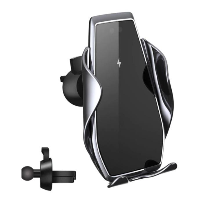 Chargeur de voiture sans fil Qi 15W - Charge rapide 3.0 - Chargeur de clip Airvent Chargeur de voiture universel sans fil Argent