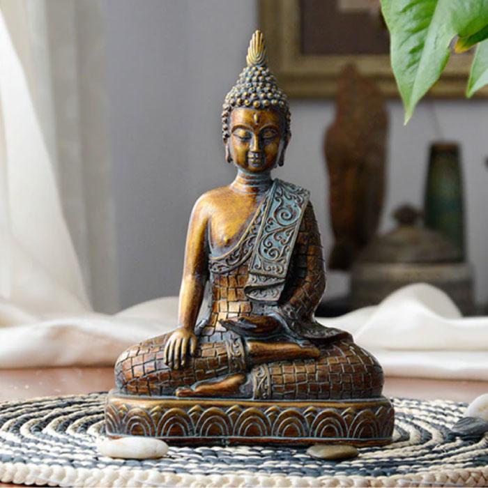 Boeddha Beeld Thailand  - Decor Ornament Hars Sculptuur Tuin Bureau