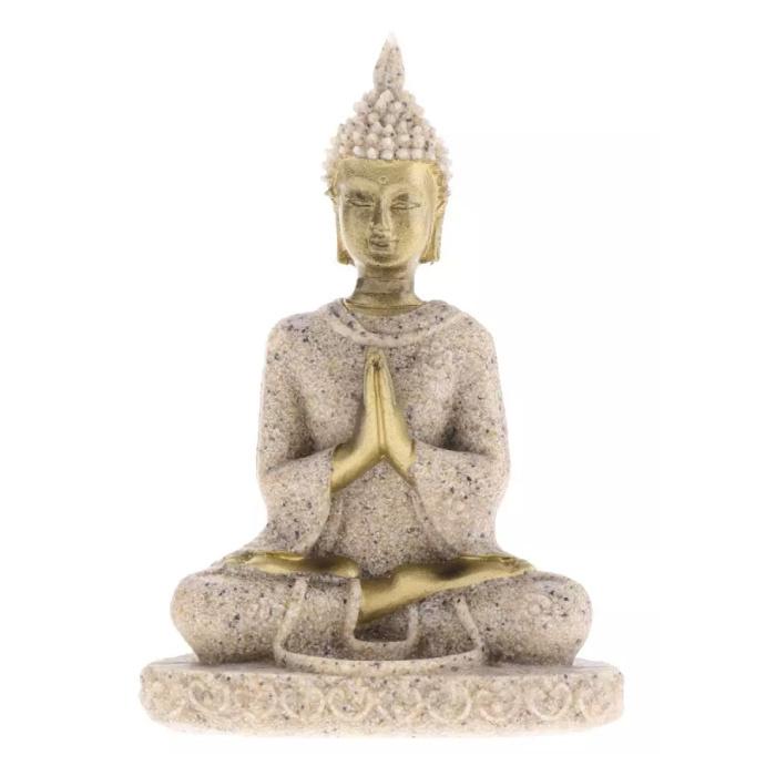 Mini Bouddha Statue - Décor Miniature Ornement Sculpture En Grès Bureau De Jardin