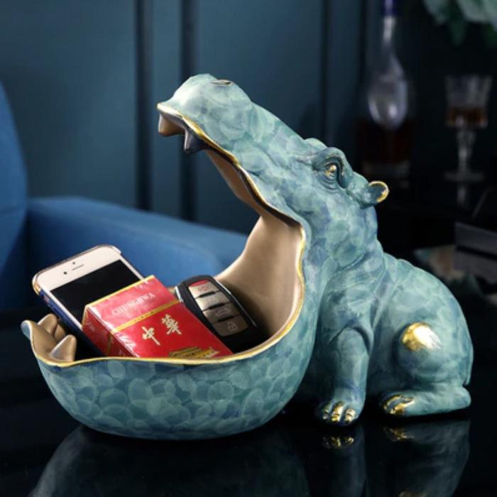 Hippo Statue Key Holder - Decor Miniature Ornament Resin Sculpture Desk Blue