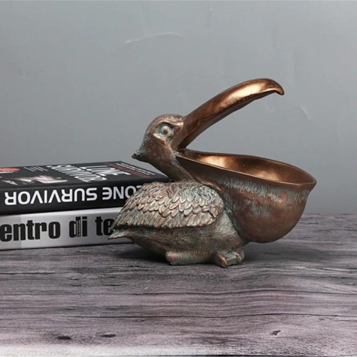 Pelikaan Beeld Sleutelhouder - Decor Miniatuur Ornament Hars Sculptuur Bureau Brons