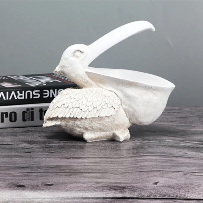 Pelikaan Beeld Sleutelhouder - Decor Miniatuur Ornament Hars Sculptuur Bureau Wit