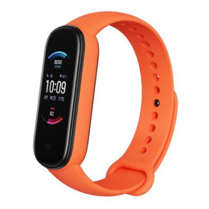 Montre connectée Band 5 - Bracelet de montre en gel de silice avec bracelet de montre en gel de silice iOS Android Orange