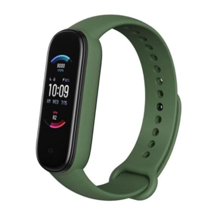 Band 5 Smartwatch - Bracelet de montre en gel de silice avec suivi d'activité sportive et fitness iOS Android vert