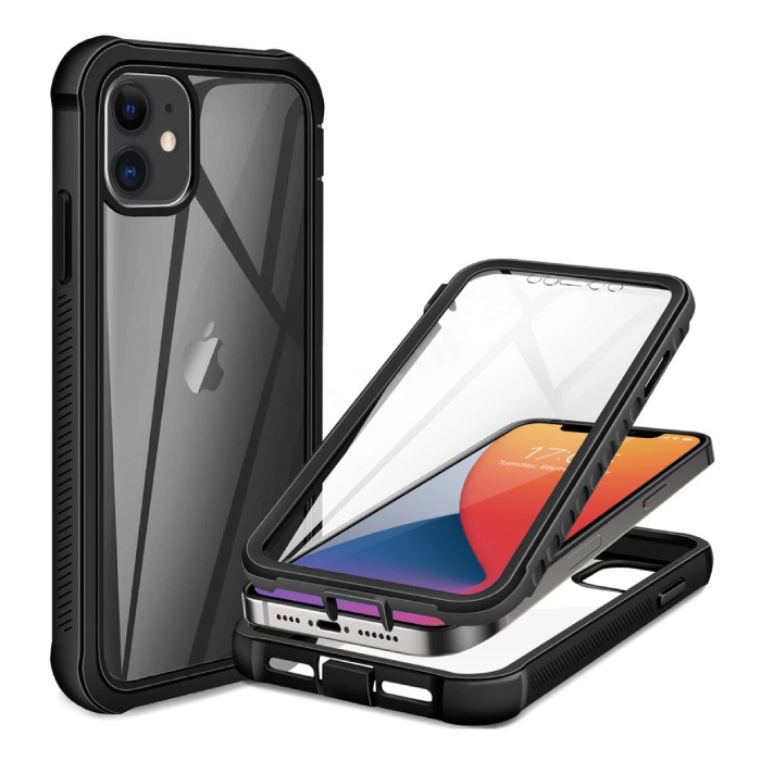 iPhone 8 Plus 360°  Full Body Hoesje Bumper Case  + Screenprotector - Shockproof Cover Zwart