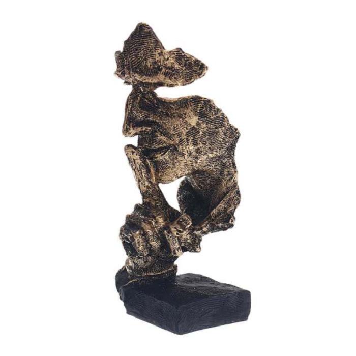 Sculpture Norvégienne Abstraite - Décor Parlant Statue Ornement Résine Bureau De Jardin Or