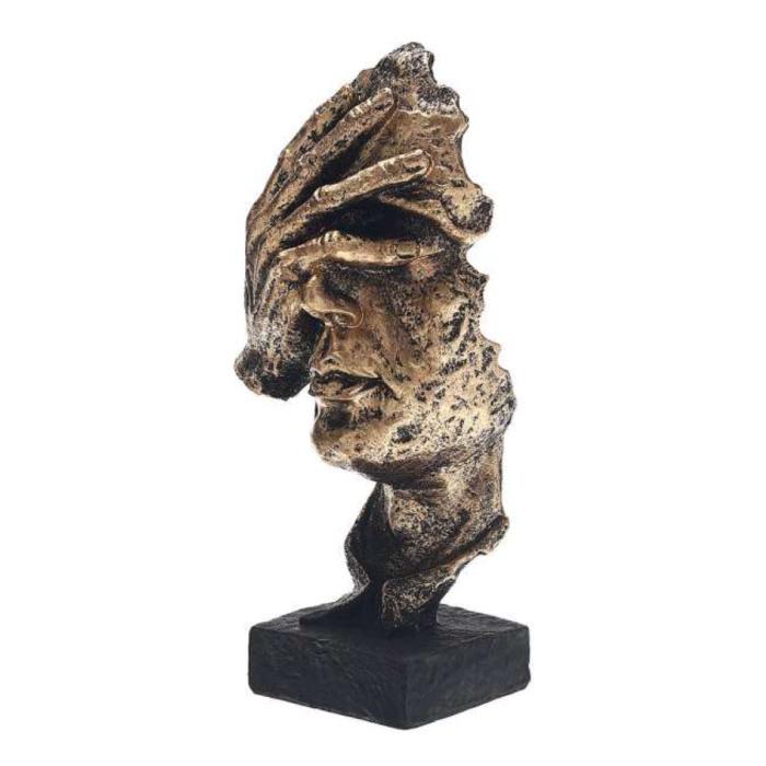 Sculpture Norvégienne Abstraite - Pensée Décor Statue Ornement Résine Bureau de Jardin Or - Copie