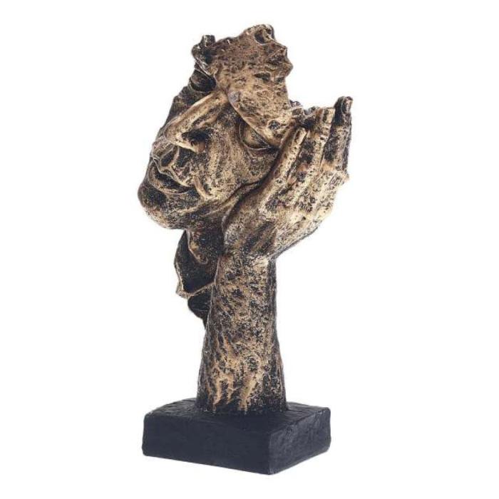 Norwegian Sculpture Abstract - Listening Decor Statue Ornament Resin Garden Desk Gold
