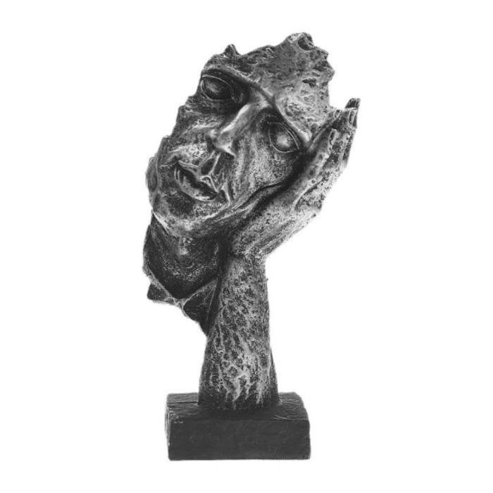 Sculpture Norvégienne Abstrait - Ecoute Décor Statue Ornement Résine Bureau de Jardin Argenté