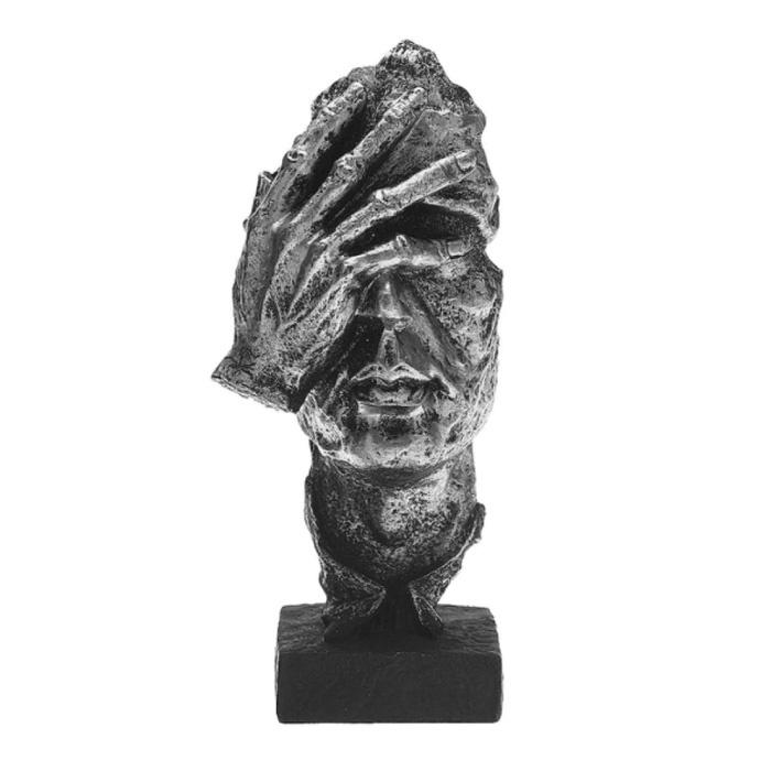 Norwegian Sculpture Abstract - Thinking Decor Statue Ornament Resin Garden Desk Silver