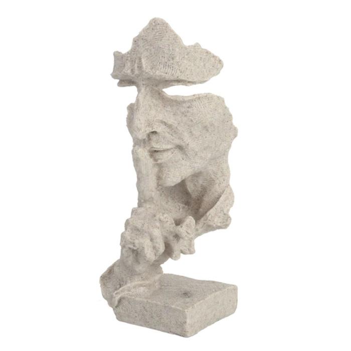 Sculpture Norvégienne Abstraite - Décor Parlant Statue Ornement Bureau De Jardin En Résine Blanc