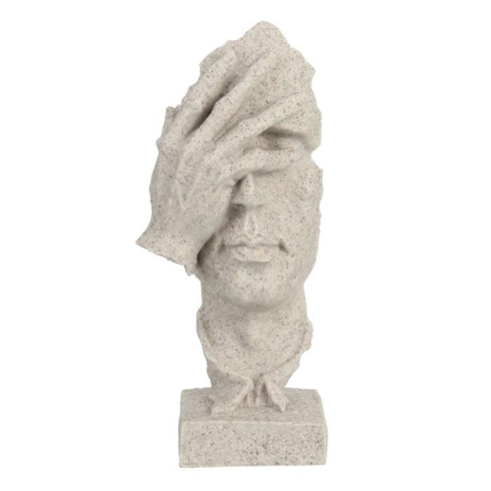 Sculpture Norvégienne Abstrait - Pensée Décor Statue Ornement Résine Bureau de Jardin Blanc